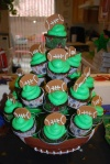 football cupcakes. chocolate with buttercream and fondant footballs