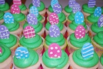 easter egg cupcakes. pink lemonade with lime frosting