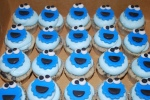 oreo cupcakes with blue buttercream. All faces are handmade from fondant
